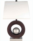 Lite Source Table Lamp SS and  Walnut w/ Off White LS-2449