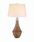 Lite Source Walnut PS w/ White Portland Table Lamp LS-2920WAL-WHT
