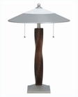 Lite Source Walnut Wood Column Satin Steel Table Lamp LS-3629SS-DWAL