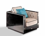 Lounge Chair in Black Crocodile and Beige Fabric 44L006-1