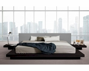Low Profile Black Oak and Grey Leatherette Platform Bed 44B106BD