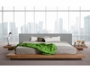 Low Profile Grey/ White Leatherette Platform Bed 44B105BD