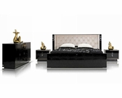 Luxurious Bedroom Set w/ Transitional Crocodile Lacquer Bed 44B152SET