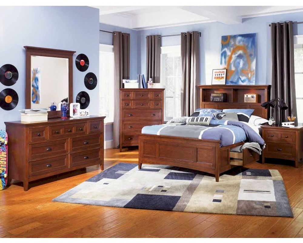 Magnussen youth bedroom set with 2 storage rails riley mg y1873set for Youth storage bedroom furniture