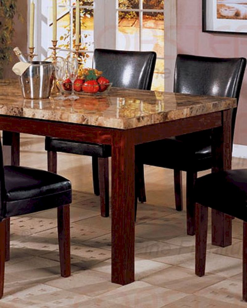 marble top dining table in rich cherry. Black Bedroom Furniture Sets. Home Design Ideas