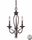 ELK Medford 3-Light Chandelier in Oiled Bronze With Adapter Kit EK-61031-3-LA