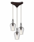 ELK Menlow Park  Collection 3 Light Chandelier in Oil Rubbed Bronze EK-60066-3