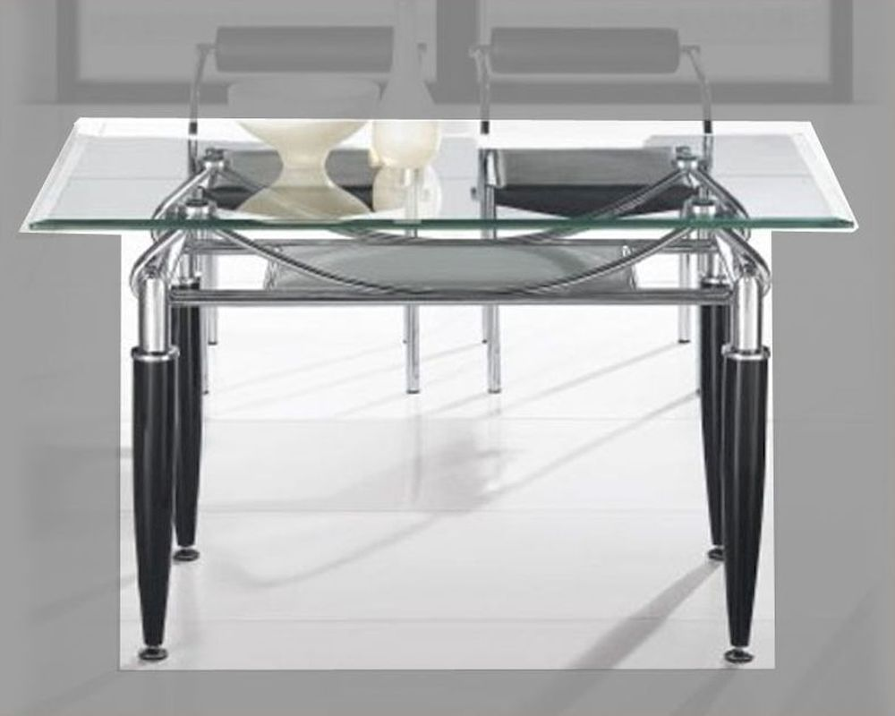 Metal dining table w glass top ol dt17 for Glass top dining table next