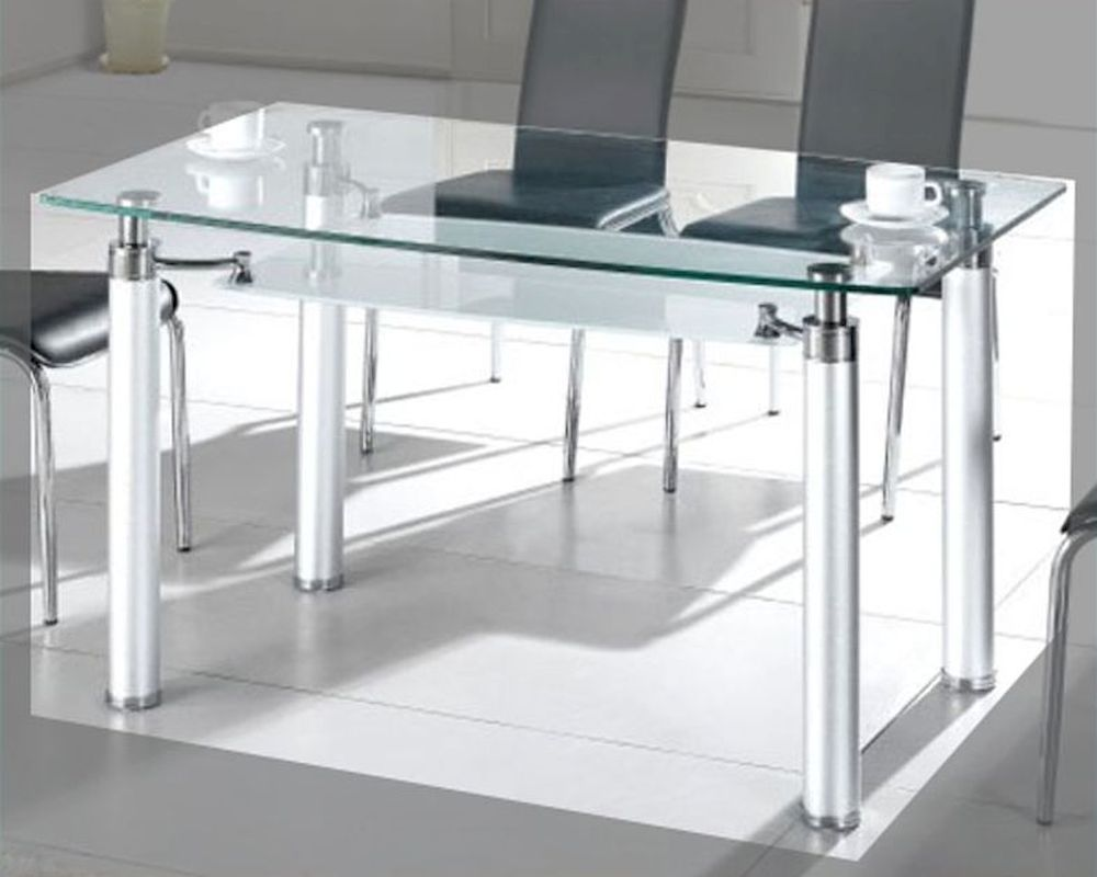 Metal dining table w glass top ol dt34 for Glass top dining table next