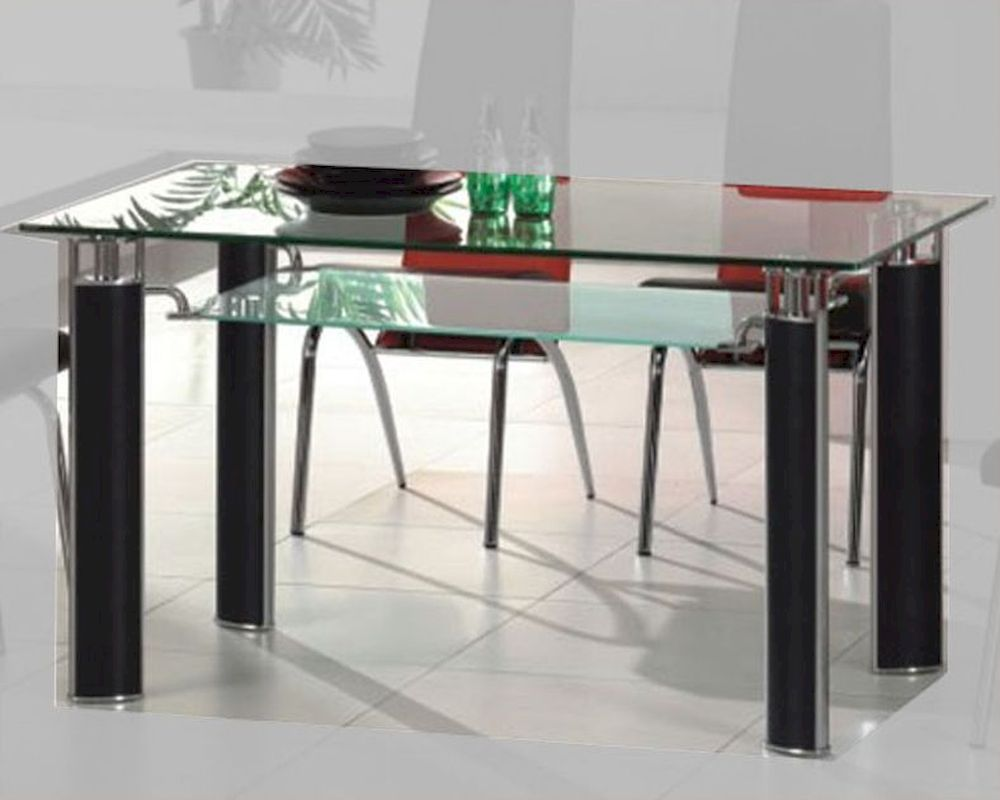 Metal dining table w glass top ol dt38 for Glass top dining table next
