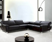 Modern 3pc Black Leather Sectional Sofa Set 44L0626