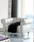 Modern Arm Chair Lolita in Silver Finish Made in Spain 33B289