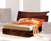 Modern Bed in High Gloss Walnut Finish 33B172