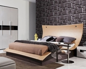 Modern Bed w/ Lights in Rich Brown Oak 44B119BD