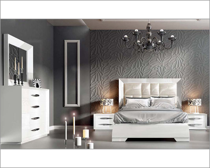 White modern bedroom set carmen 33131ca for Bedroom set with bed