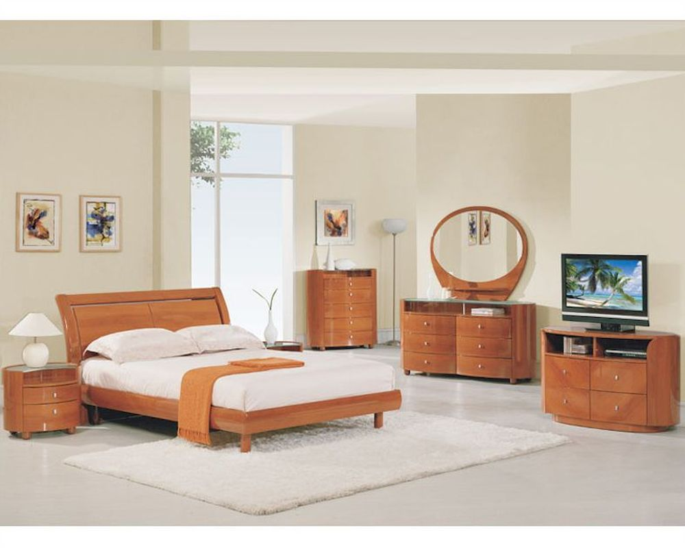 modern contemporary bedroom furniture sets modern bedroom set elma in cherry finish 35b11 19249