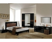 Modern Bedroom Set in Black/ Brown Finish Made in Italy 44B5111BB