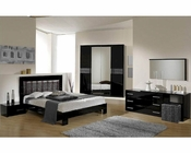Modern Bedroom Set in Black/ Gray Finish Made in Italy 44B5111BG