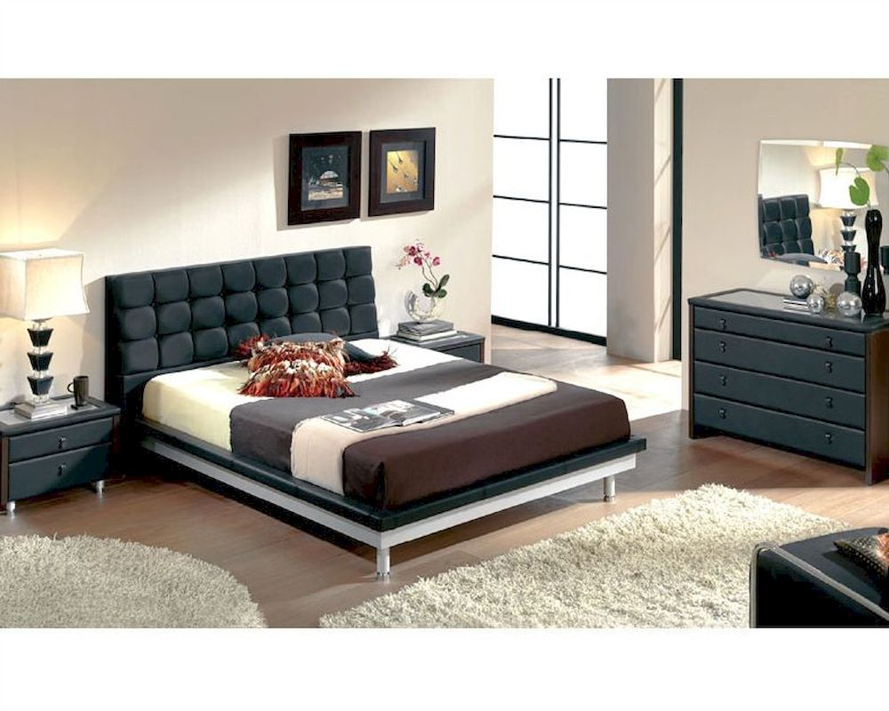 Modern bedroom set in black made in spain 33b51 for Three room set design