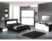 Modern Bedroom Set in Black/ White Finish Made in Italy 44B5111BW