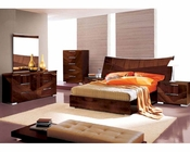 Modern Bedroom Set in High Gloss Walnut Finish 33B171