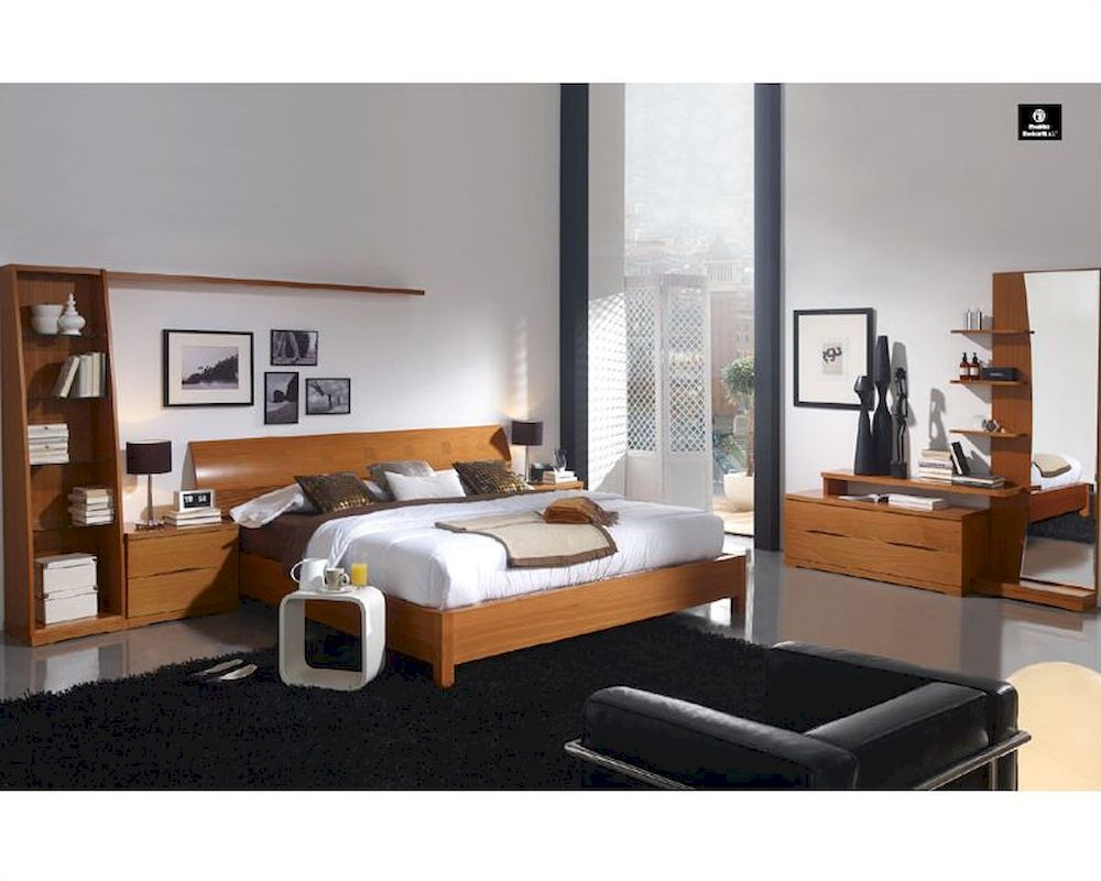 Modern bedroom set in light cherry finish made in spain 33b201 for Modern bedroom sets