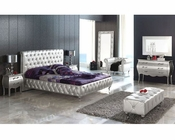 Modern Bedroom Set Lolita in Silver Finish Made in Spain 33B281