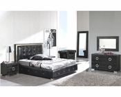 Modern Bedroom Set Valencia in Black Made in Spain 33B251