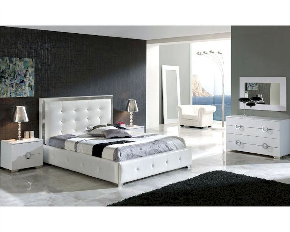 Modern bedroom set valencia in white made in spain 33b241 for Bedroom sets with mattress included