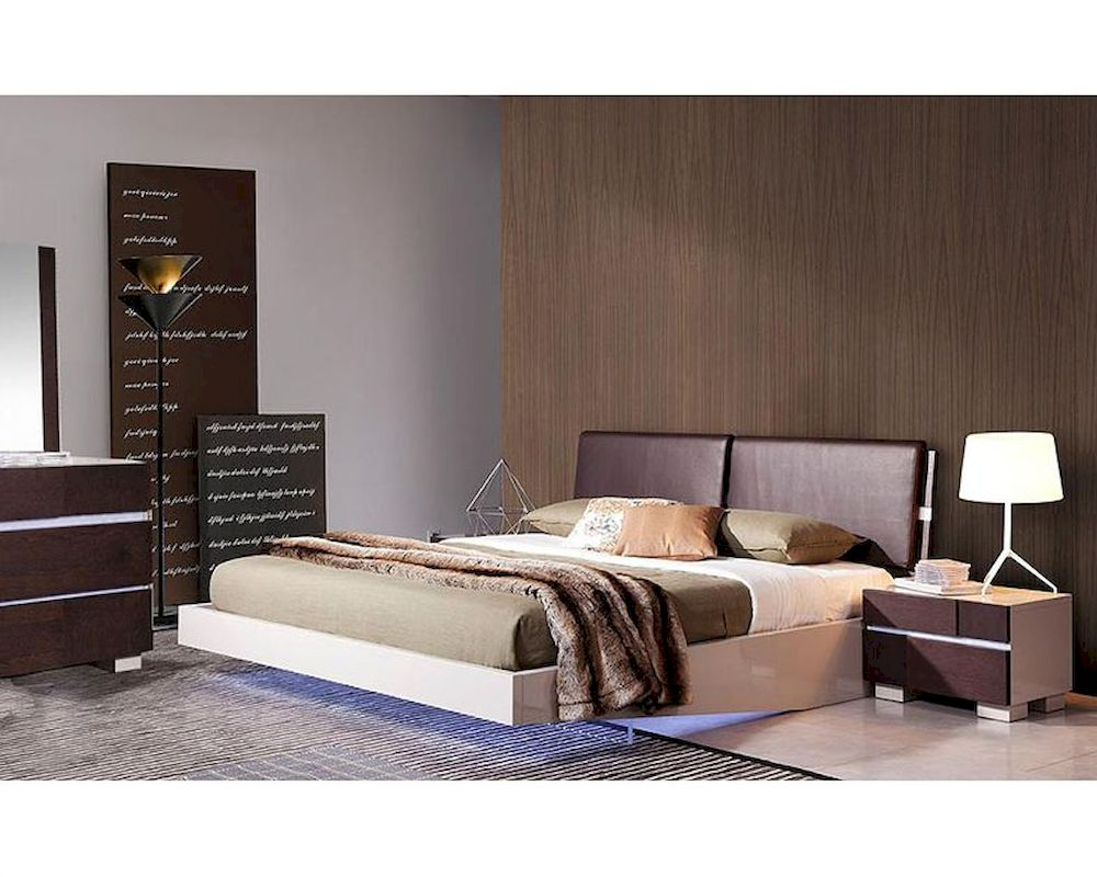 . modern bedroom set w floating bed with led lights bset