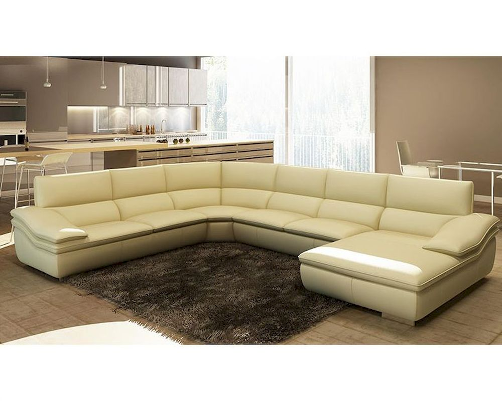 Modern beige italian leather sectional sofa 44l5957 for Beige leather sectional sofa sale