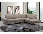 Modern Beige Leather Sectional Sofa 44L5942