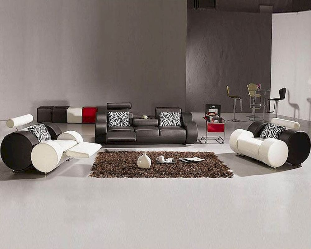 Modern black sofas - Modern Black And White Leather Sofa Set 44l3088