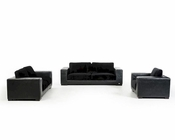 Modern Black Crocodile Leatherette Sofa Set 44L5708