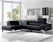 Modern Black Fabric Sectional Sofa 44L6054