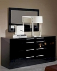 Modern Black Finish Dresser and Mirror Made in Italy 44B114B