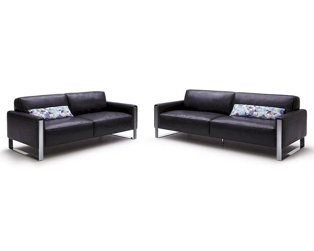 Modern black full leather sofa set 44l5921 for Leather sofa set