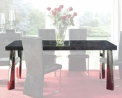 Modern Black Glass Top Dining Table Cruz European Design Spain 33D72