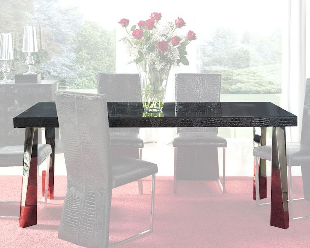 Modern Black Glass Top Dining Table Cruz European Design
