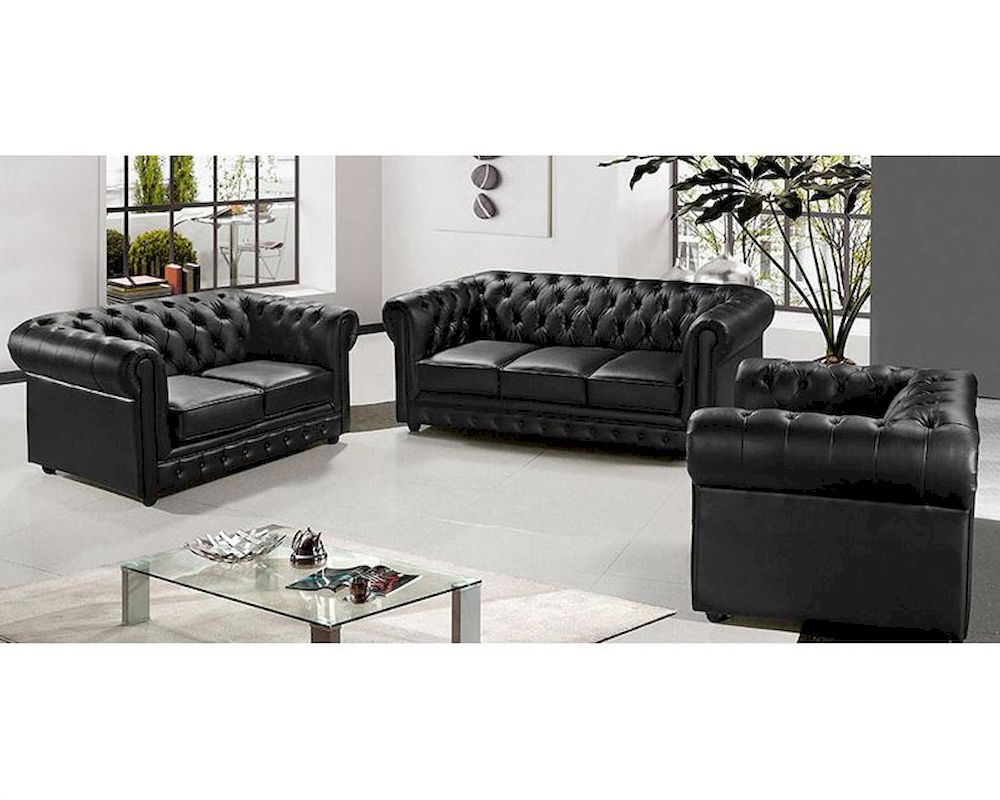 Contemporary black leather sofa set 1 contemporary black for Black living room furniture sets
