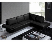 Modern Black Leather Sectional Sofa 44L5970