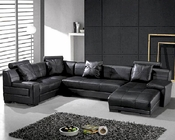 Modern Black Leather Sectional Sofa Set 44L3334B