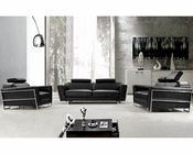 Modern Black Leather Sofa Set 44L658B