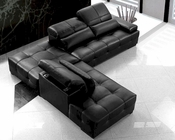 Modern Black Tufted Leather Sectional Sofa Set 44L0668A