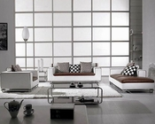 Modern Brown and White Leather Sofa Set 44LBO334