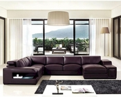 Modern Brown Bonded Leather Sectional Sofa 44L5964