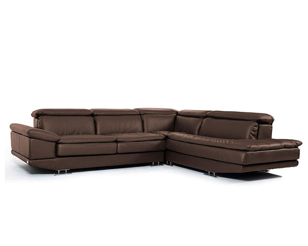 Modern brown full italian leather sectional sofa 44l5979 for Italian leather sofa