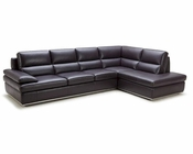 Modern Brown Leather Sectional Sofa 44L5944