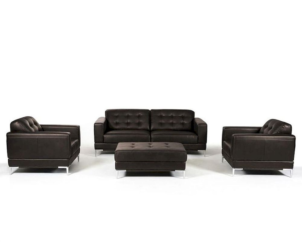 Contemporary Italian Leather Sofa Set 44l5969