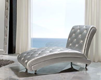Modern Chaise Lounge Lolita In Silver Finish Made In Spain
